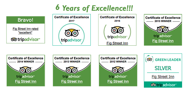 Image of certificates of excellence from TripAdvisor